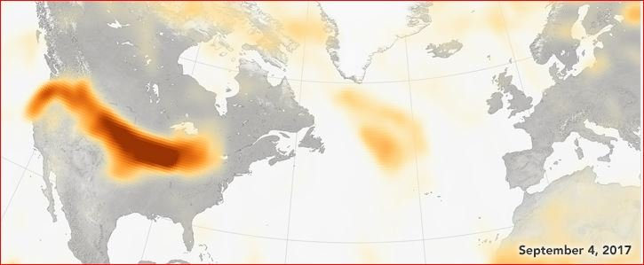 Smoke from wildfires on the US and Canadian West Coast have reached Europe in 4 days, smoke western us canada wildfires reach europe, smoke west cost usa reaches europe, smoke us west coast reaches europe, smoke from wildfire west coast america reaches europe