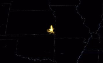 The new GOES 16 satellite captured a flash that started from a thunderstorm in southeastern Kansas and propagated about 250 miles across parts of Oklahoma and Missouri on October 22 2017, 250 miles long lightning usa
