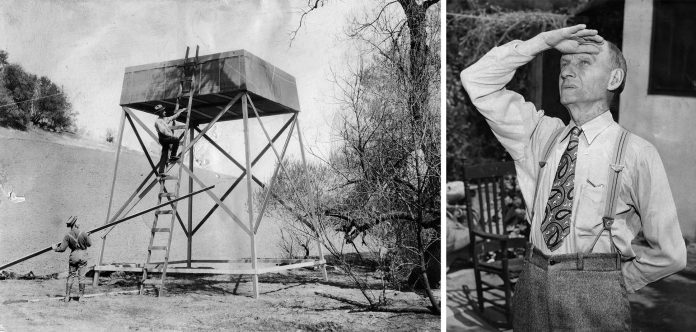 Rainmaker Charles Hatfield, Rainmaker Charles Hatfield constructs his tower to modify the weather in San Diego in 1915.
