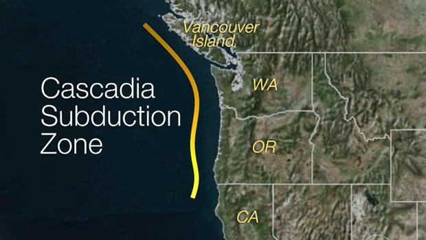 Cascadia Subduction Zone, Cascadia Subduction Mappa della zona, Cascadia Subduction Zone plates