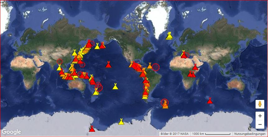 current erupting volcanoes october 2017, current eruptions, map current volcanic eruptions, current volcanic eruptions