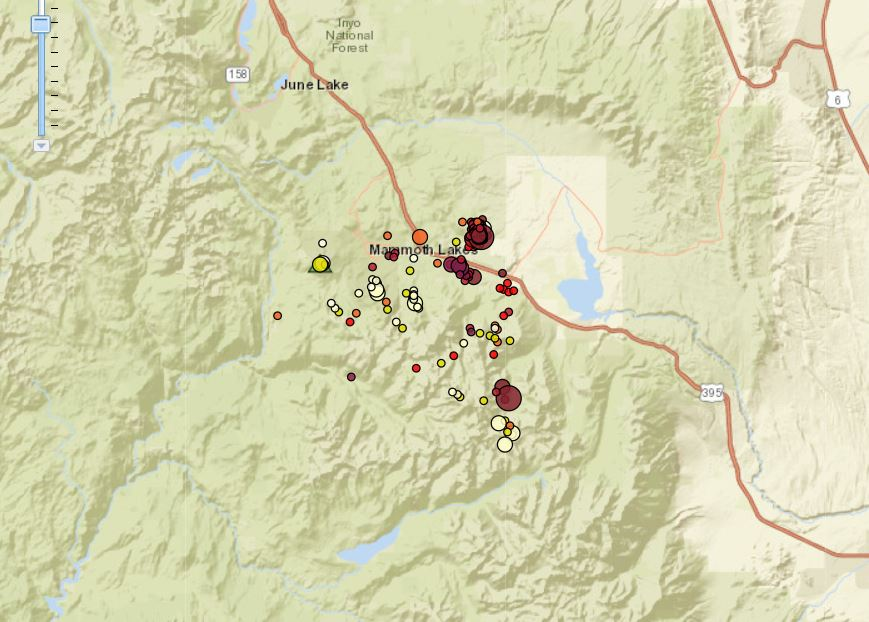 Earthquake swarm hits Mammoth Lakes, California: 185 tremors ... on goodyear california map, fun california map, highway 395 oregon map, california lakes map, flagstaff california map, california on map, outlet mall california map, arizona strip visitor map, big bear california map, aspen colorado map, san manuel california map, buckeye california map, southern california map, coolidge california map, pacific coast highway 1 california map, whistler backcountry map, miami california map, old highway 80 california map, phoenix california map, peoria california map,