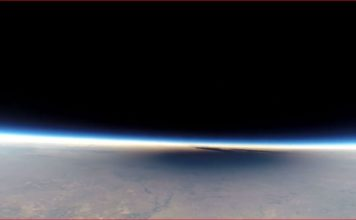 Shadow of the solar eclipse of August 21st filmed with GoPro camera from the stratosphere, gopro video eclipse from stratosphere, gopro video stratosphere, gopro stratosphere video flat earth