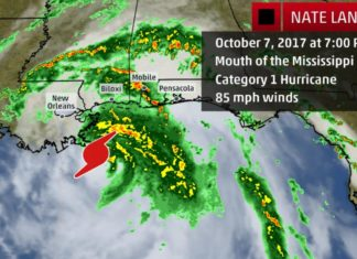 Hurricane Nate Makes Landfall as a Category 1 Hurricane Near the Mouth of the Mississippi River, nate mississippi, nate new orleans, nate usa