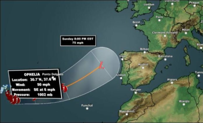 hurricane ophelia, hurricane ophelia path, hurricane ophelia route, hurricane ophelia map, hurricane ophelia video