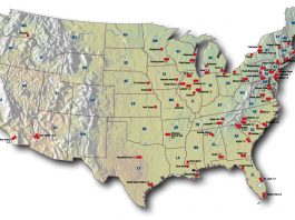 nuclear power plants usa map, Map showing the nuclear power plants in the USA