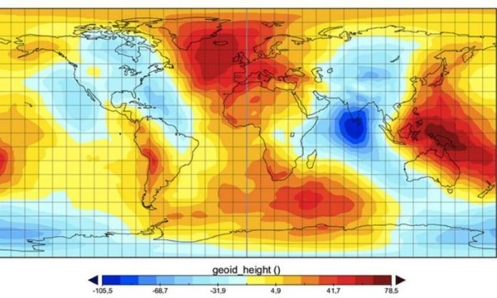 Indian Ocean Geoid Low (IOGL), point of low gravity called the Indian Ocean Geoid Low (IOGL)