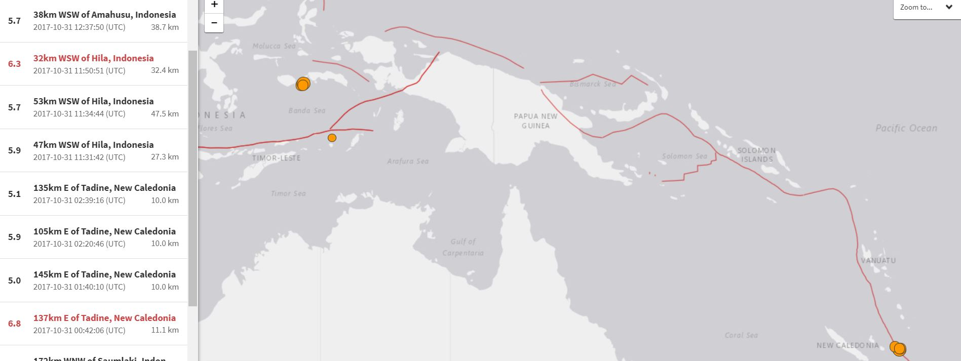 Strong earthquakes on October 31 2017