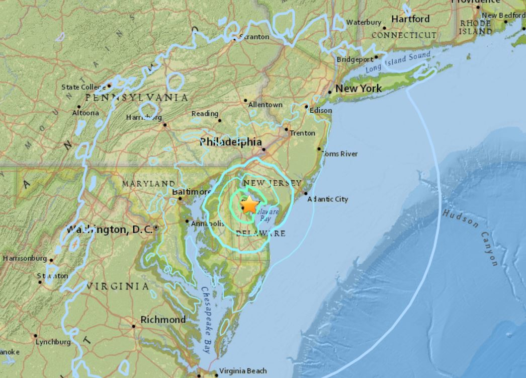 M4.1 earthquake hits delaware, earthquake delaware nove 30 2017, M5.1 earthquake downgraded to M4.1 tremor hits near Dover, Delaware on Nov. 30