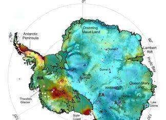 antarctica heat flux map, This new Antarctic heat map reveals sub-ice hotspots