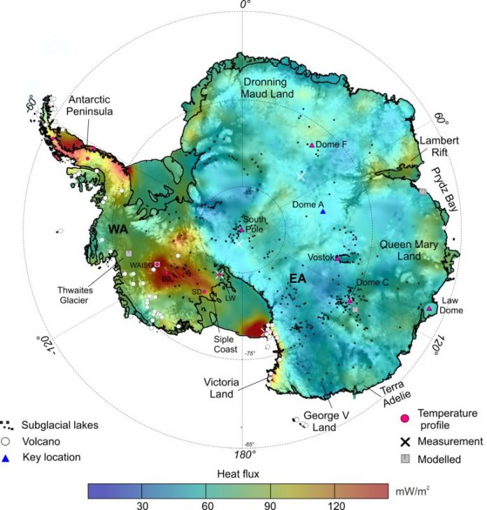 antarctica heat flux map, This new Antarctic heat map reveals sub-ice hotspots