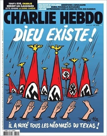 charlie hebdo hurricane harvey nazi, Charlie Hebdo mocks Hurricane Harvey victims as 'Neo-Nazis'