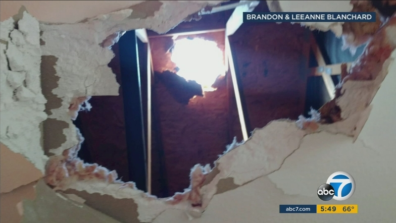 Large megacryometeor creates huge hole in the roof of a house in Chino