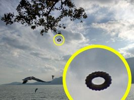donut-shaped ufo china, tire-shaped ufo china, tourist shot picture donut-shaped ufo in china