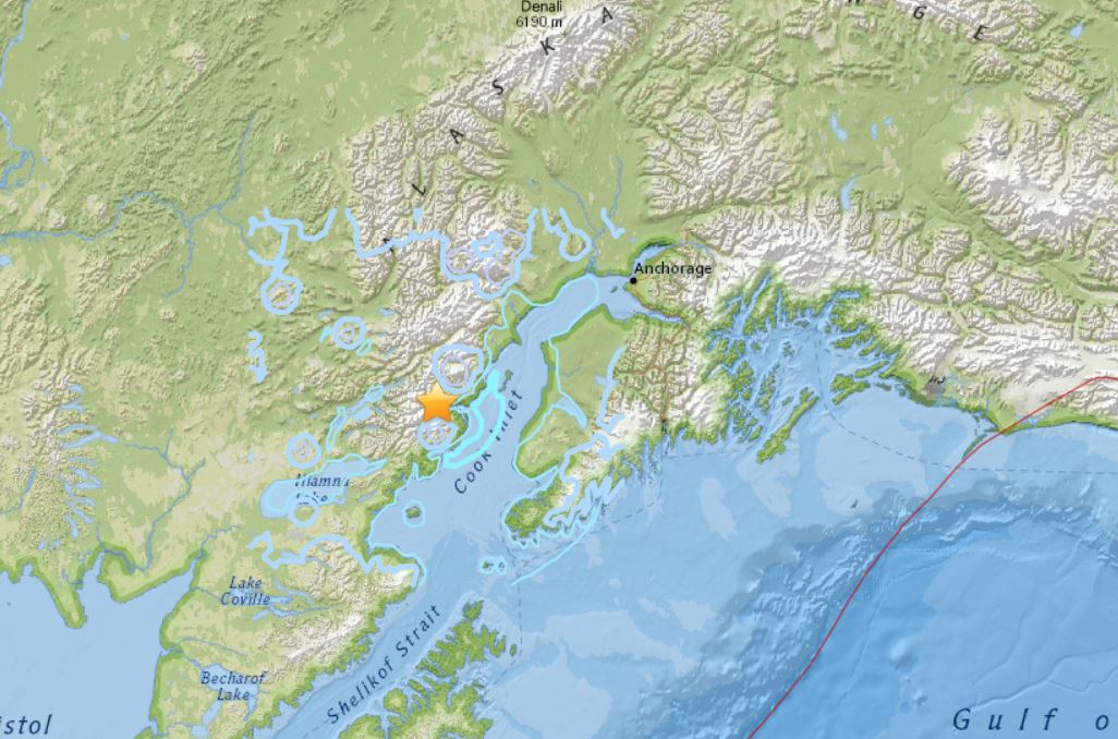 A M 5.1 earthquake hit 27km SW of Redoubt Volcano, Alaska on November 5 2017