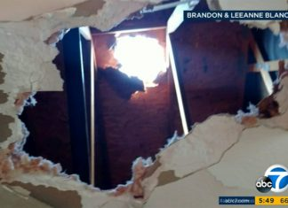 giant chunk of ice falls from sky in Chino california, megacryometeor chino california, chunk of ice fall on house in california, chino ice destroyed by chunk of ice falling from the sky