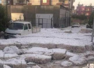 Severe hailstorm in Mercin Turkey on November 19 2017