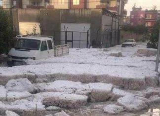 Severe hailstorm in Mercin Turkey on November 19 2017
