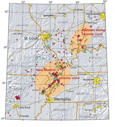 new madrid earthquake seismic zone, new madrid earthquakes, new madrid fault