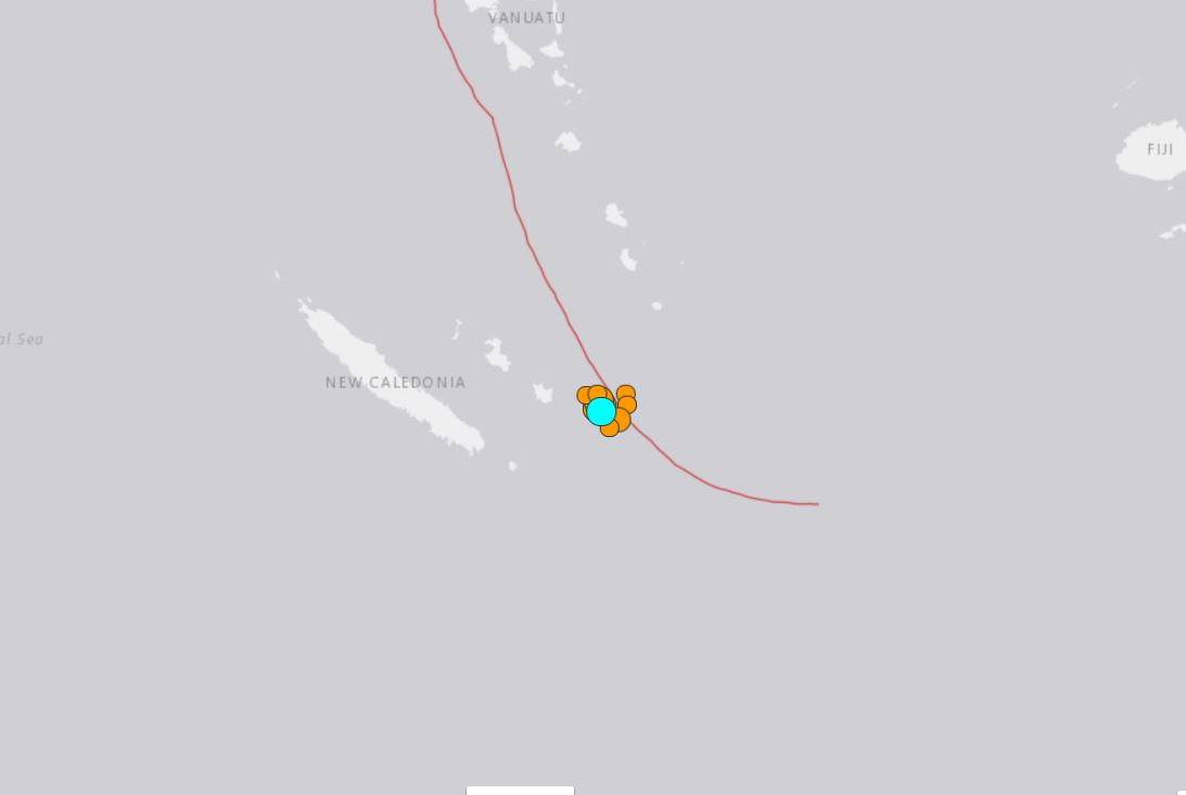 strong earthquakes hit new caledonia november 1 2017, M6.6 earthquake new caledonia, M6.0 earthquake new caledonia, earthquake new caledonia november 1 2017, A swarm of strong earthquakes is currently striking east of Tadine in New Caledonia