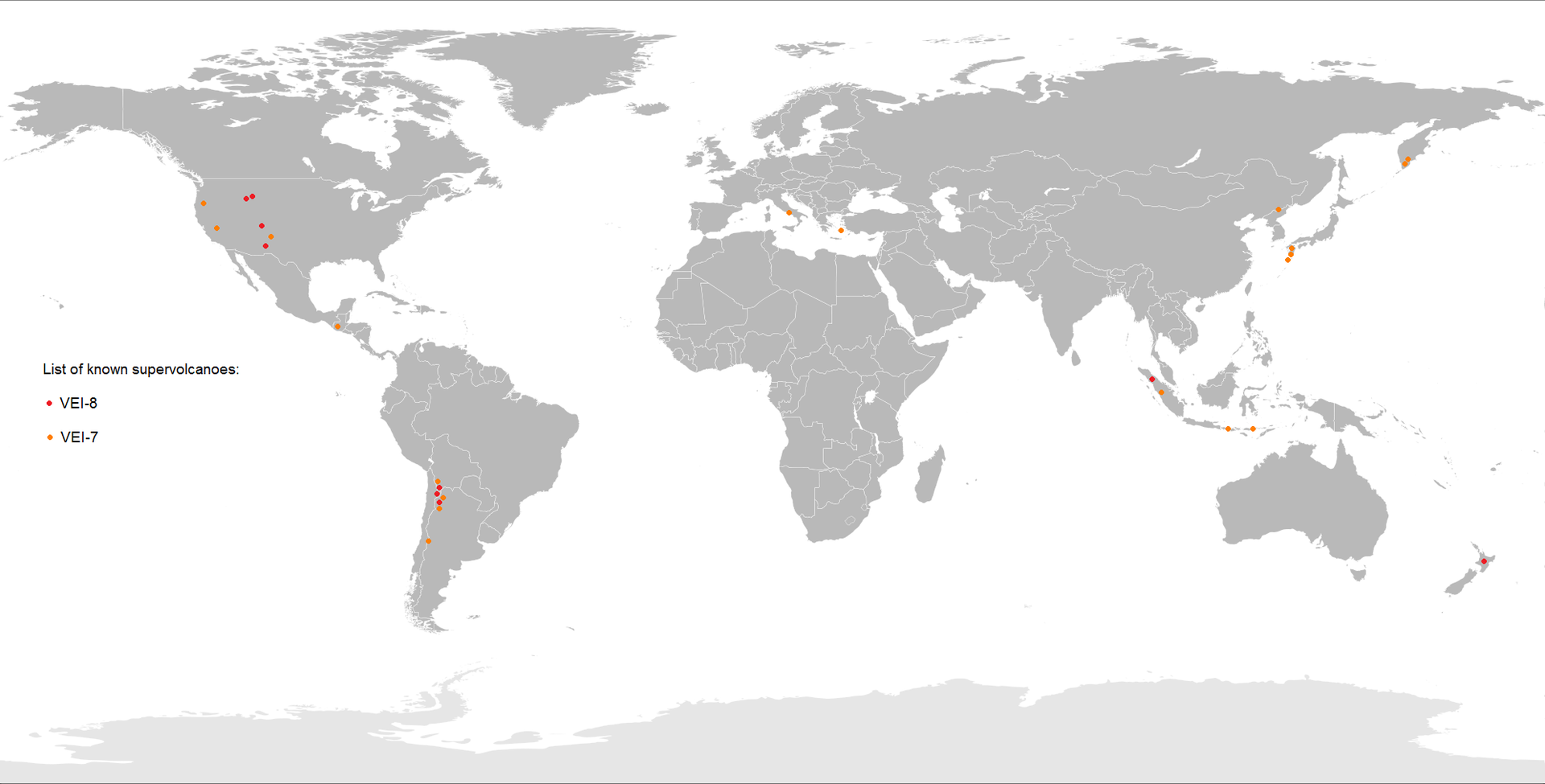 supervolcanoes around the world, list of supervolcanoes around the world
