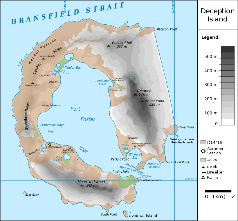 Map of Deception Island in Antarctica, deception island eruption