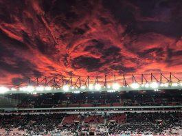 fiery sunset stadium of light sunderland UK pictures, fiery sunset stadium of light sunderland UK video, fiery sunset stadium of light sunderland UK, sunset pictures, fiery sunset sunderland 2017, apocalyptic sunset