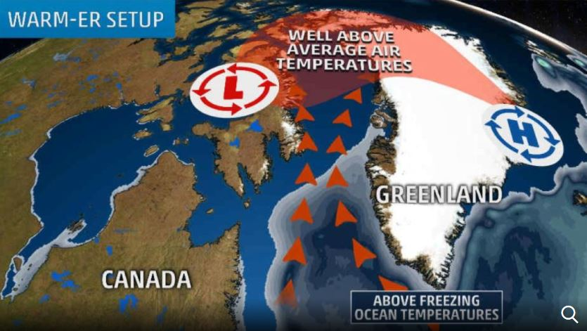 heatwave greenland, freak heatwave greenland, Freak heatwave engulfs Greenland, Anomalous high temperatures recorded across northern Greenland on November 29 2017