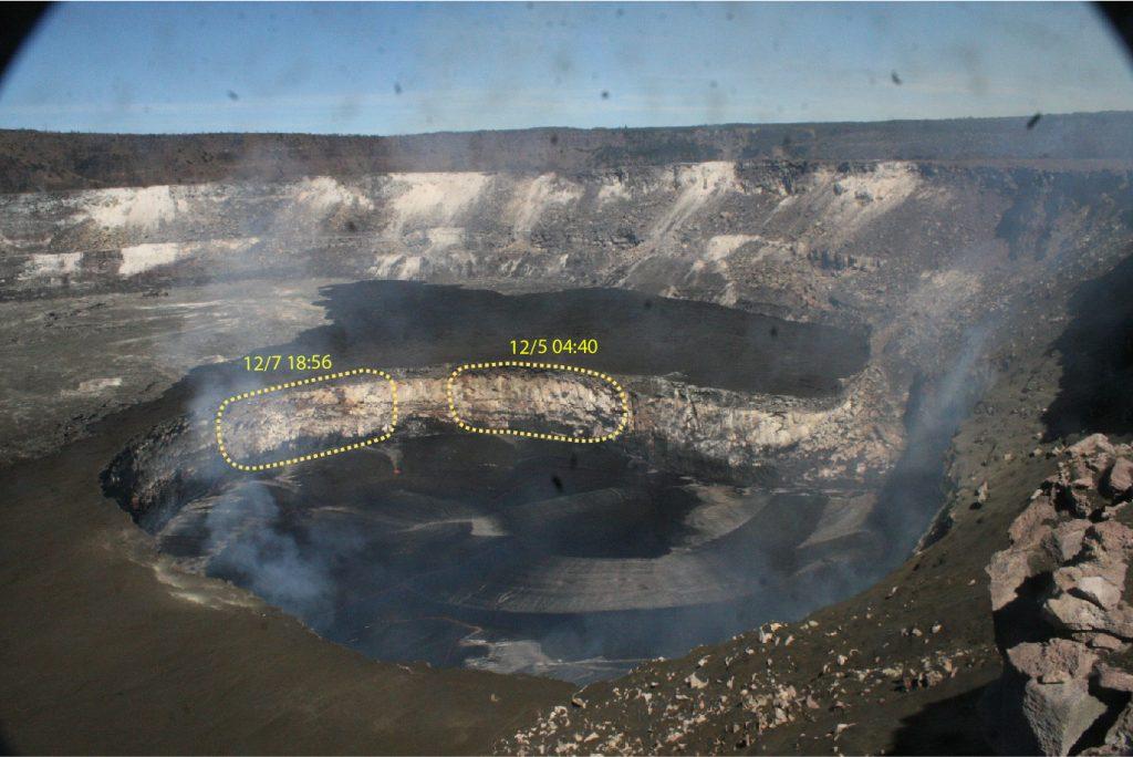 kilauea collapse, collapse at kilauea lava lake, kilauea lava lake collapses