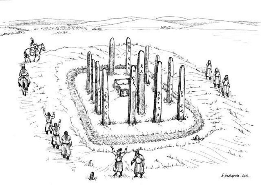 Mysterious sarcophagus surrounded my 14 stone pillars discovered in Mongolia steppes, Mysterious sarcophagus surrounded my 14 stone pillars discovered in Mongolia steppes picture, archeology, mysterious archeology
