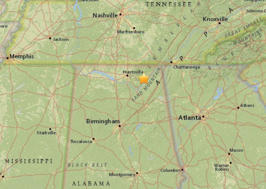 strongest alabama earthquake 2017, M2.7 earthquake alabama december 2017, A M2.9 donwgraded to M2.7 hit Alabama on December 20 2017, strongest quake to hit Alabama this year