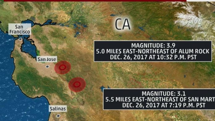 two earthquakes san jose california december 2017, two earthquakes san jose california december 26 2017, Two M3.9 and M3.1 earthquakes hit in the San Jose area in Northern California on December 26 2017