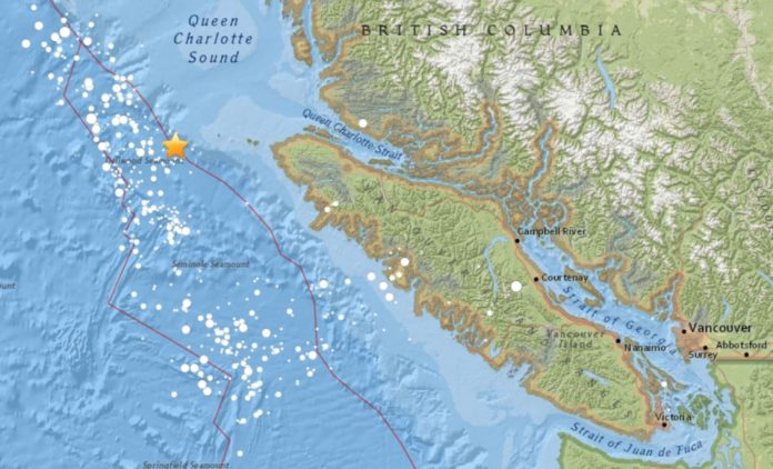 2 earthquakes (M4.0 and M4.3) hit off Vancouver Island along the Cascadia Fault Zone on January 14 2018, 2 earthquakes (M4.0 and M4.3) hit off Vancouver Island along the Cascadia Fault Zone on January 14 2018 map