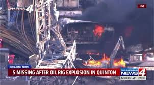 Five missing after huge rig explosion in Oklahoma