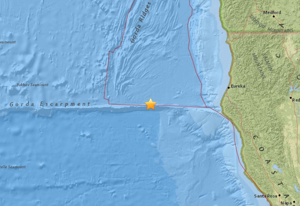 The M5.8 earthquake was followed by a M5.0 aftershock minutes later on January 25 2018, M5.8 earthquake hits off Northern California on January 25 2018, M5.8 earthquake hits off Northern California on January 25 2018 map, M5.8 earthquake hits off Northern California on January 25 2018 photo, M5.8 earthquake hits off Northern California on January 25 2018 video