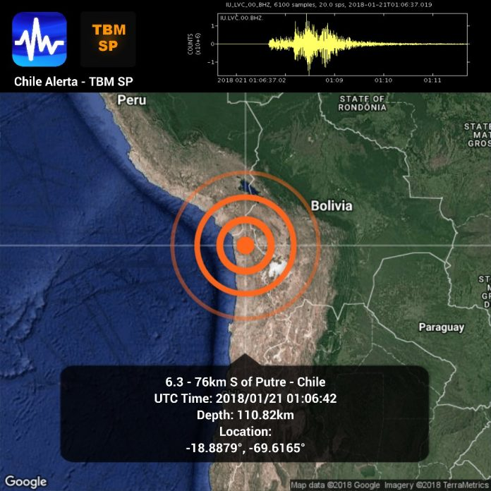 M6.3 earthquake putre chile january 21 2018, M6.3 earthquake putre chile january 20 2018, A strong M6.3 earthquake hit near Putre in Chile on January 21 2018