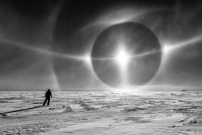 antarctica sundog, eye sky antarctica, eye opens up over Antarctica, An amazing eye in the sky opens up over Antarctica