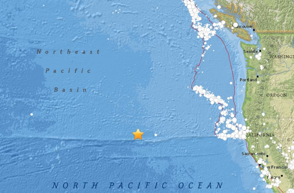 A shallow M4.6 earthquake hit the seismically quiet North Pacific Ocean on January 1 2018, earthquake north pacific ocean jan 1 2018