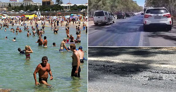 Hume highway melts near Victoria during extreme heatwave in Australia in January 2018, extreme heatwave australia, extreme heatwave australia causes streets to melt, streets melt in australia heatwave