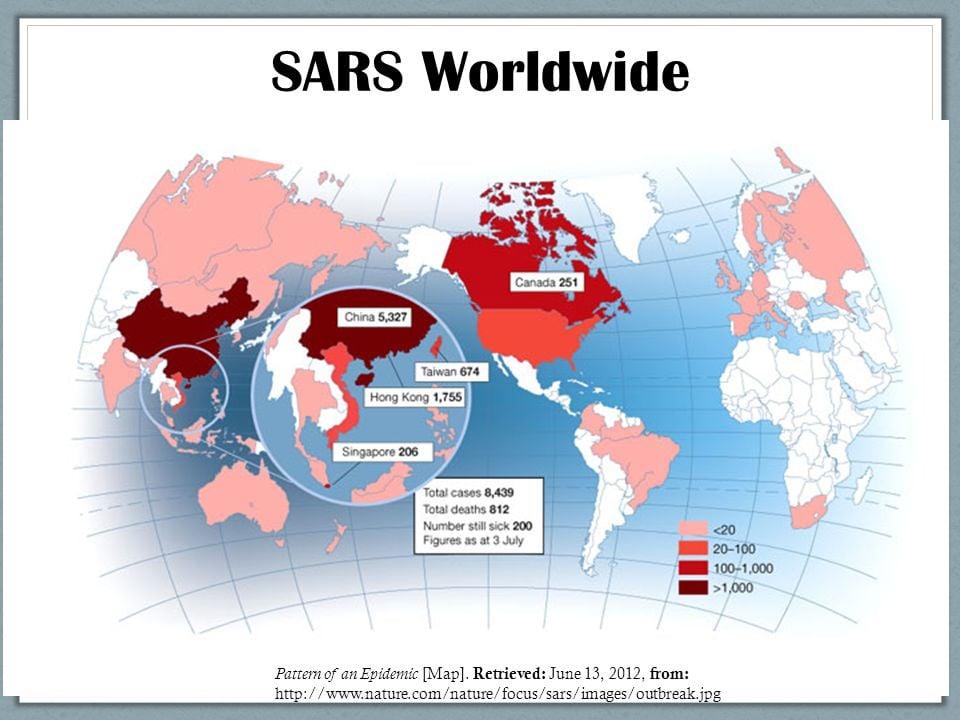 SARS, SARS pandemics, SARS worldwide in 2012