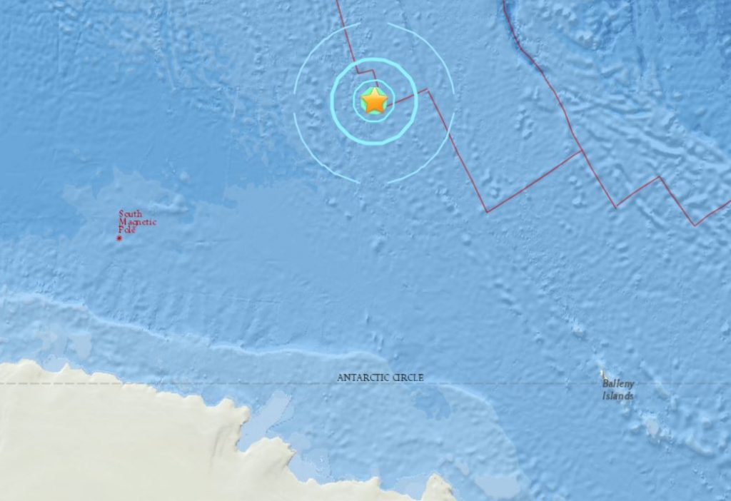 A M6.1 earthquake hit near the south magnetic pole on February 27 2018, M6.1 earthquake hits south magnetic pole february 28 2018