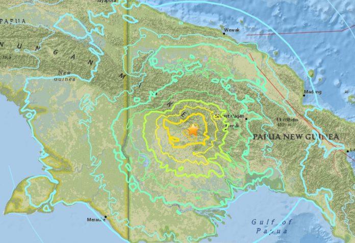 M7.5 earthquake papua new guinea, M7.5 earthquake papua new guinea february 25 2018, M7.5 earthquake papua new guinea map