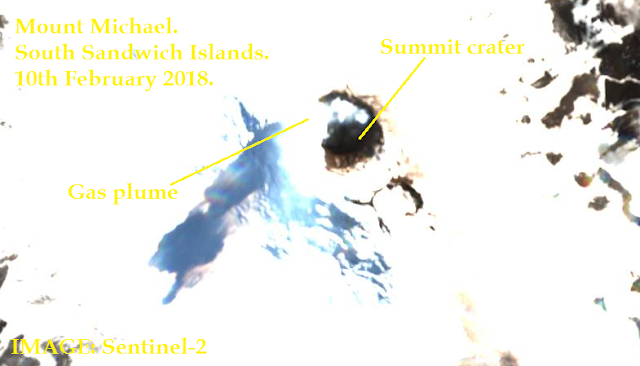 Volcanic activity reported inside the crater of Mount Michael Volcano in the South Sandwich Islands in february 2018, eruption mount michael saunders island south sandwich islands, volcano eruption south sandwich islands february 2018, volcanic eruption Saunders Island february 2018,