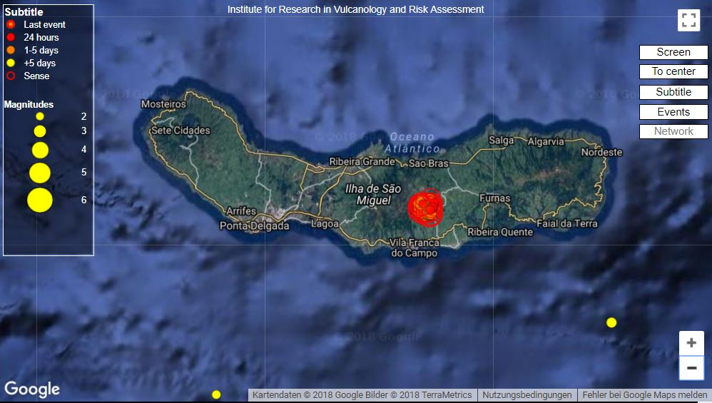 More than 300 earthquakes hit the Azores overnight on February 12 2018, More than 300 earthquakes hit the Azores overnight on February 12 2018 map, enhanced seismic activity azores february 12 2018