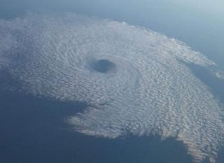 Von Karman vortex cloud looks like a hurricane off the coast of San Diego, CA.
