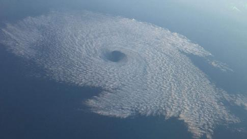 Von Karman vortex cloud looks like a hurricane off the coast of San Diego, CA.