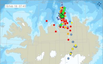 iceland earthquake swarm february 2018, More than 2,000 earthquakes hit North Iceland within the last four days with a M5.2 and M4.5 quakes on February 19 2018, More than 2,000 earthquakes hit North Iceland within the last four days with a M5.2 and M4.5 quakes on February 19 2018 map