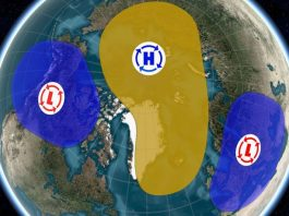 polar vortex split, polar vortex splits in two, polar vortex has split in two
