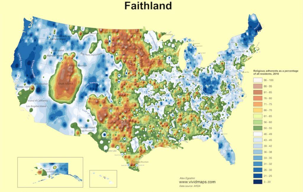 faith map, faith map usa, physical map of Faith in the USA, religious faith map, religious faith map