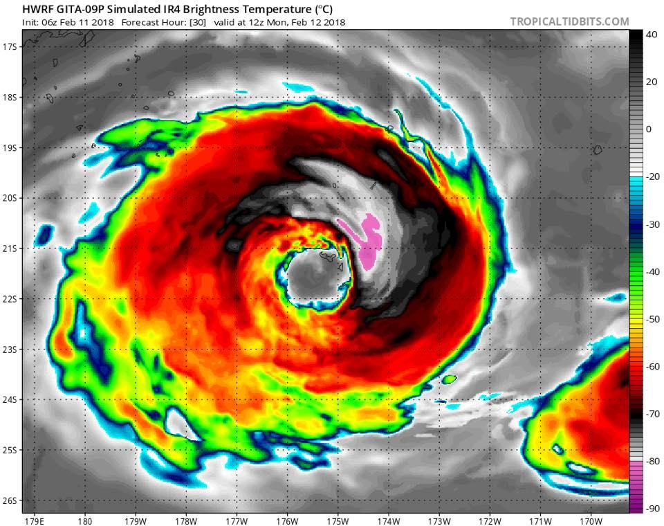 Huge cyclone over Tonga, eye of cyclone over tonga, tonga cyclone february 2018